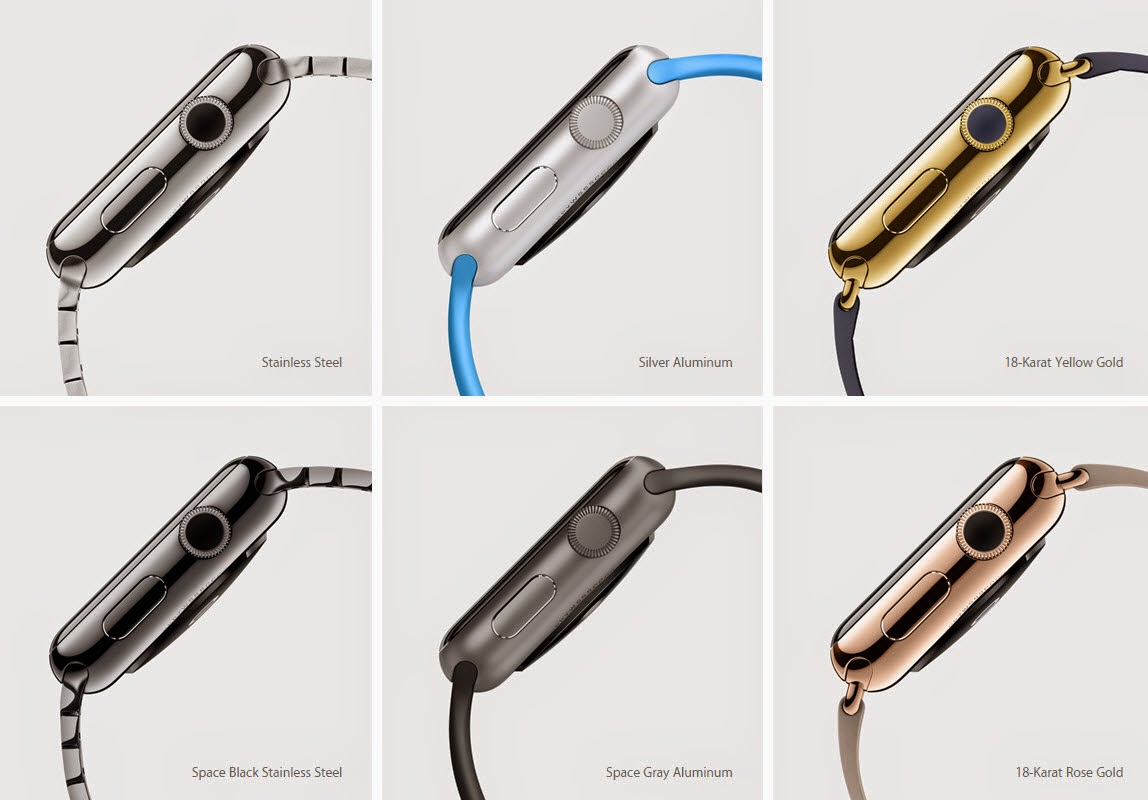 Apple Watch is available in aluminum, stainless steel or gold casings.