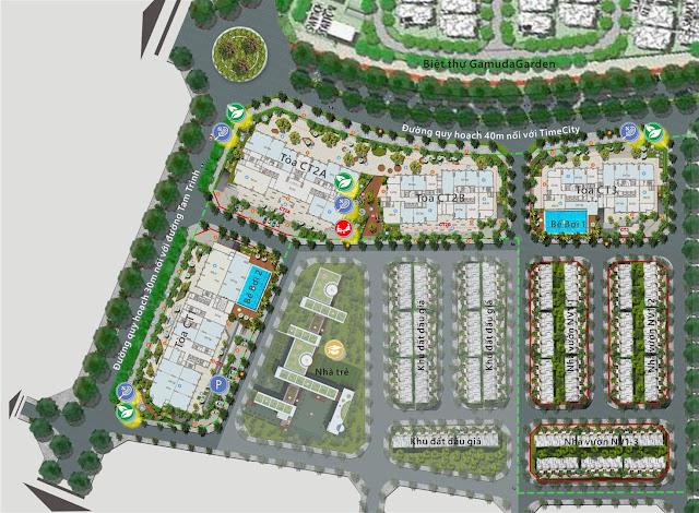 Bố trí các tòa chung cư, khu liền kề, khu tiện ích tại Gelexia Riverside