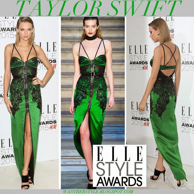 c0c5355e0e4d Taylor Swift in green satin gown embellished with black lace from Julien  Macdonald Fall 2015 collection