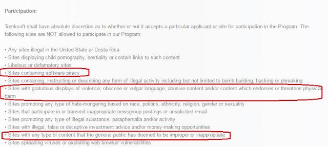 no permite descargas ilegales, ni contenidos cuestionables.