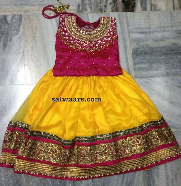 Yellow and Pink Small Kids Lehenga