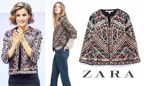 Queen Letizia's ZARA Embroidered Jacket