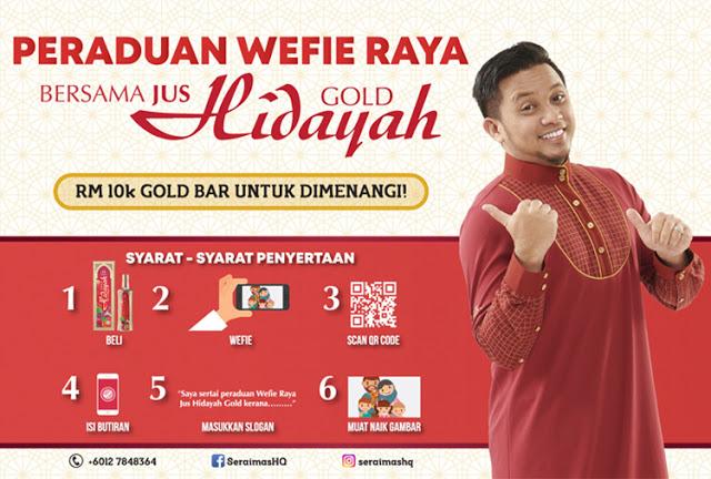 Menang Hadiah Bernilai RM10 000 Dengan Peraduan Wefie Raya Bersama Jus Hidayah Gold