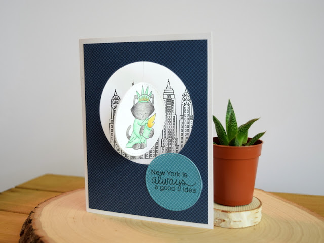 New York Spinner Card by Jess Gerstner for Newton's Nook Designs Newton Dreams of New York