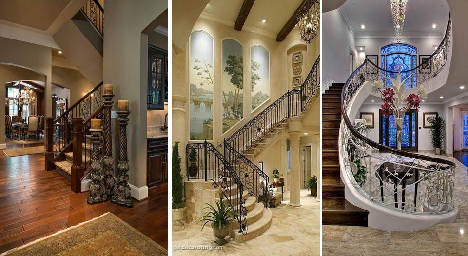 This Luxury Foyer With Straight Staircase Leads Into The Two Story Living Room Home Decor