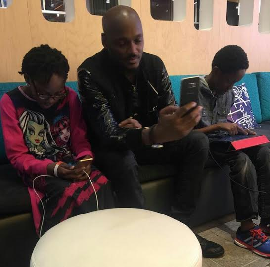 2face and his children with Pero Adeniyi who he had gone to see in America causing the fight between Annie Idibia and Pero's sister.