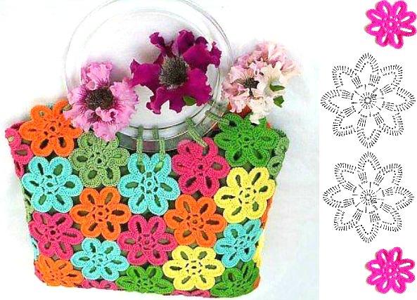 Bolso primavera de flores con asas de plastico