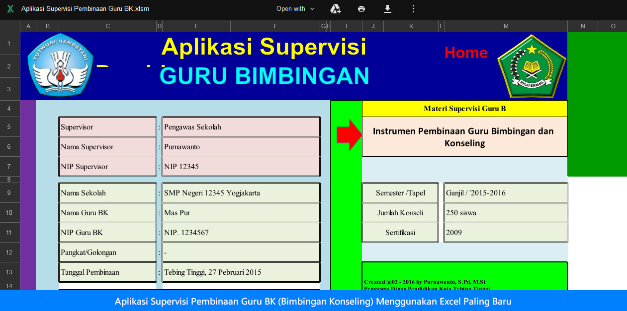 Aplikasi Supervisi Pembinaan Guru BK (Bimbingan Konseling) Menggunakan Excel Paling Baru