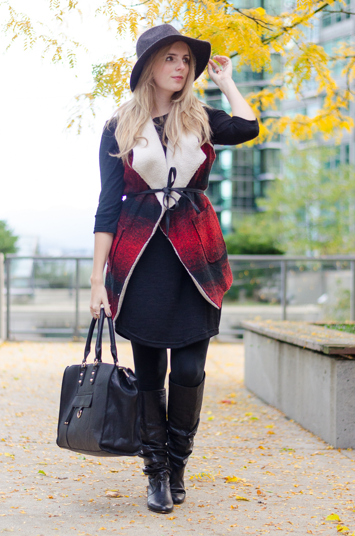 Bootlegger Vest over a Black Sweater Dress on Vancouver Style Blog
