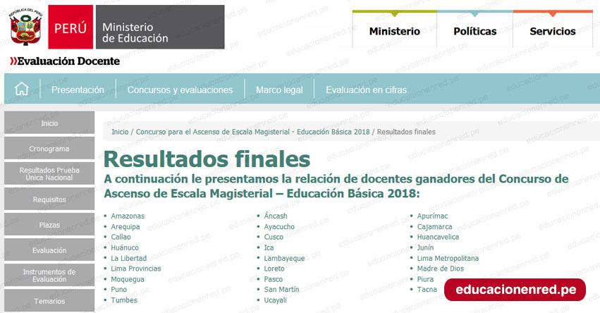 MINEDU: Resultados Finales del Concurso de Ascenso 2018 (15 Noviembre) www.minedu.gob.pe