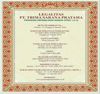 Sertifikat Legalitas PT. Trima Sarana Pratama