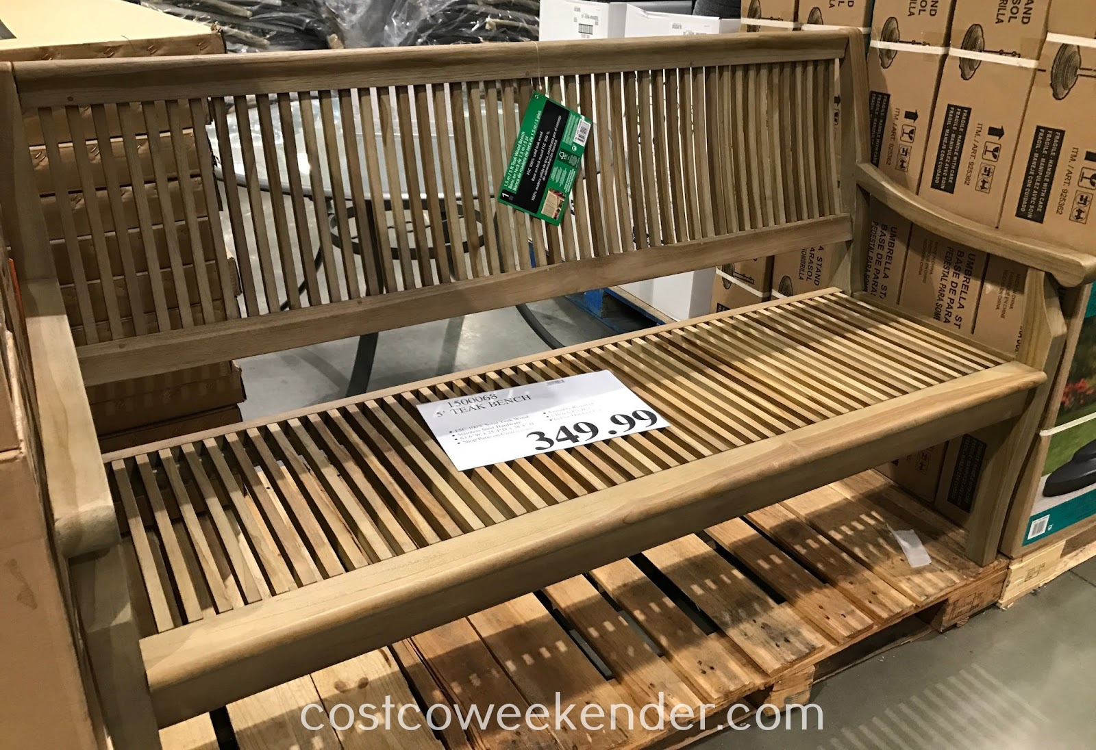 Have a seat outside on the 5-ft Teak Wood Bench