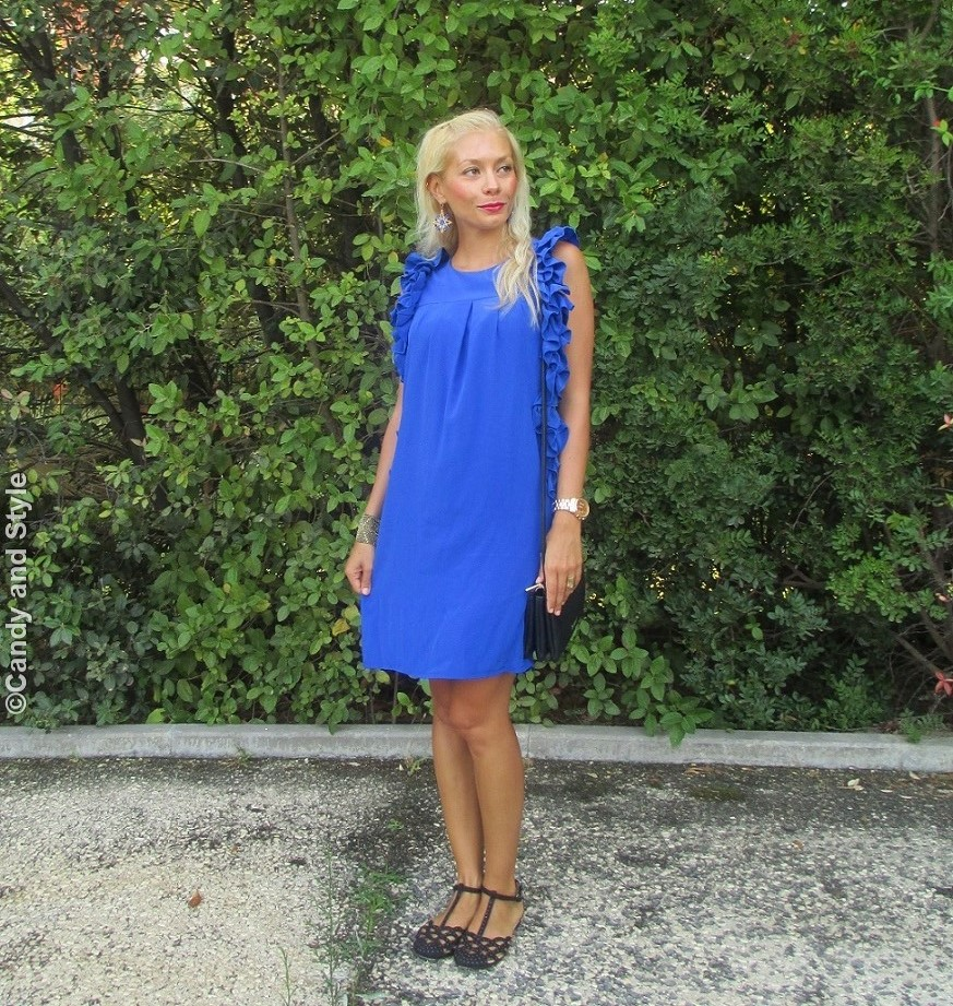 Lo&Lo Blue Dress, Urbiana Bracelet, Flat Sandals, Crossbody Trio Bag - Lilli Candy and Style Fashion Blog