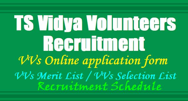 TS Vidya Volunteers Recruitment 2018,TS VVs Online application form 2018,VVs Merit List,VVs Selection List, VVs Results,VVs Recruitment Schedule