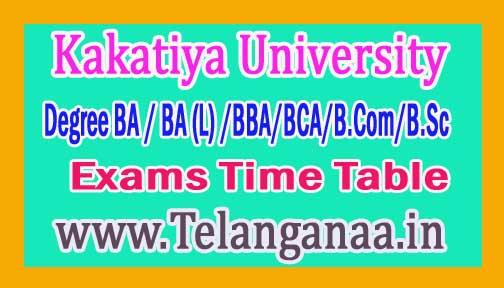 Kakatiya University Degree 1st Year 1st Sem Exams Time Table 2016
