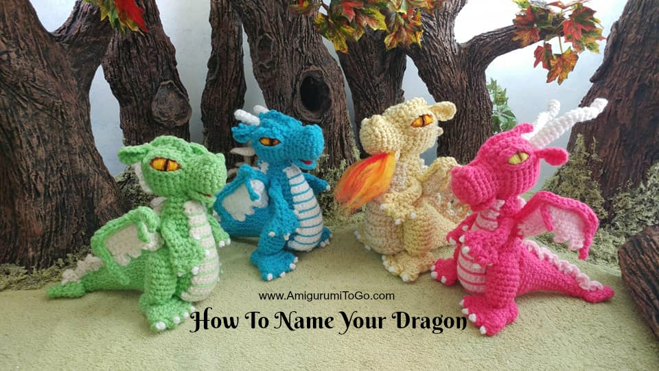 crochet dragons green yellow pink blue amigurumi