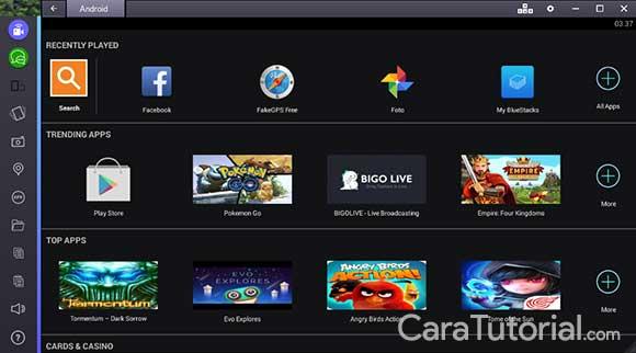 BlueStacks App Player berhasil di install dan berjalan pada laptop Windows