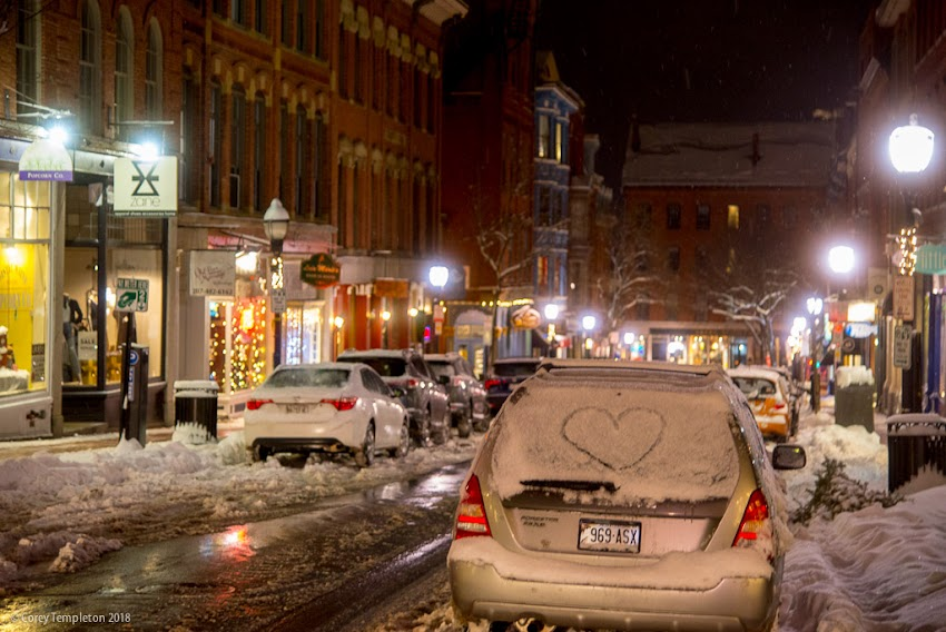 Portland, Maine USA January 2018 photo by Corey Templeton. A fellow fan of the snow, parked on Exchange Street last night.