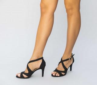 Sandale negre din catifea elegante de zi cu toc mediu
