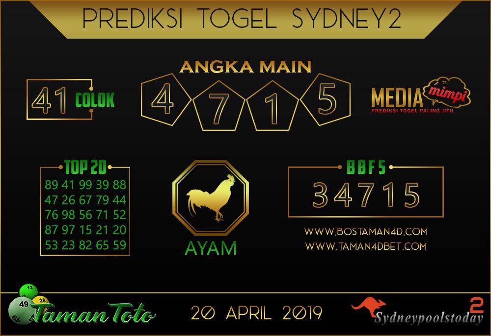 Prediksi Togel SYDNEY 2 TAMAN TOTO 20 APRIL 2019