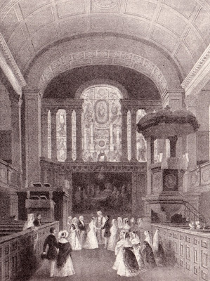 A fashionable wedding at St George's Hanover Square (1841)  from Life In Regency and Early Victorian Times  by EB Chancellor (1926)