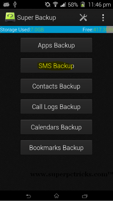 backup sms on android phone