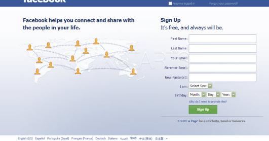 facebook login in english page