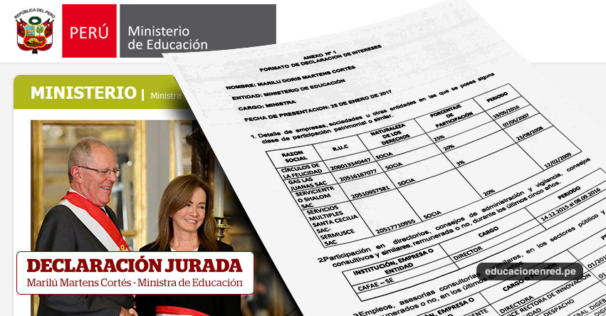 MINEDU: Declaración Jurada - Marilú Doris Martens Cortés - Ministra de Educación (Declaración de Intereses 2017) www.minedu.gob.pe