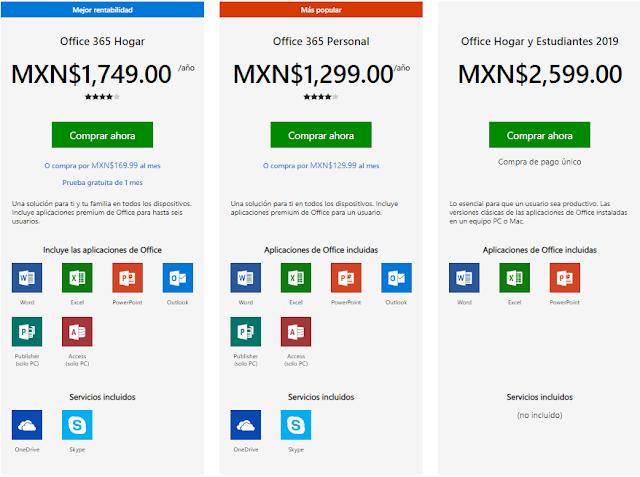 Precios Microsoft Office 365 y 2019