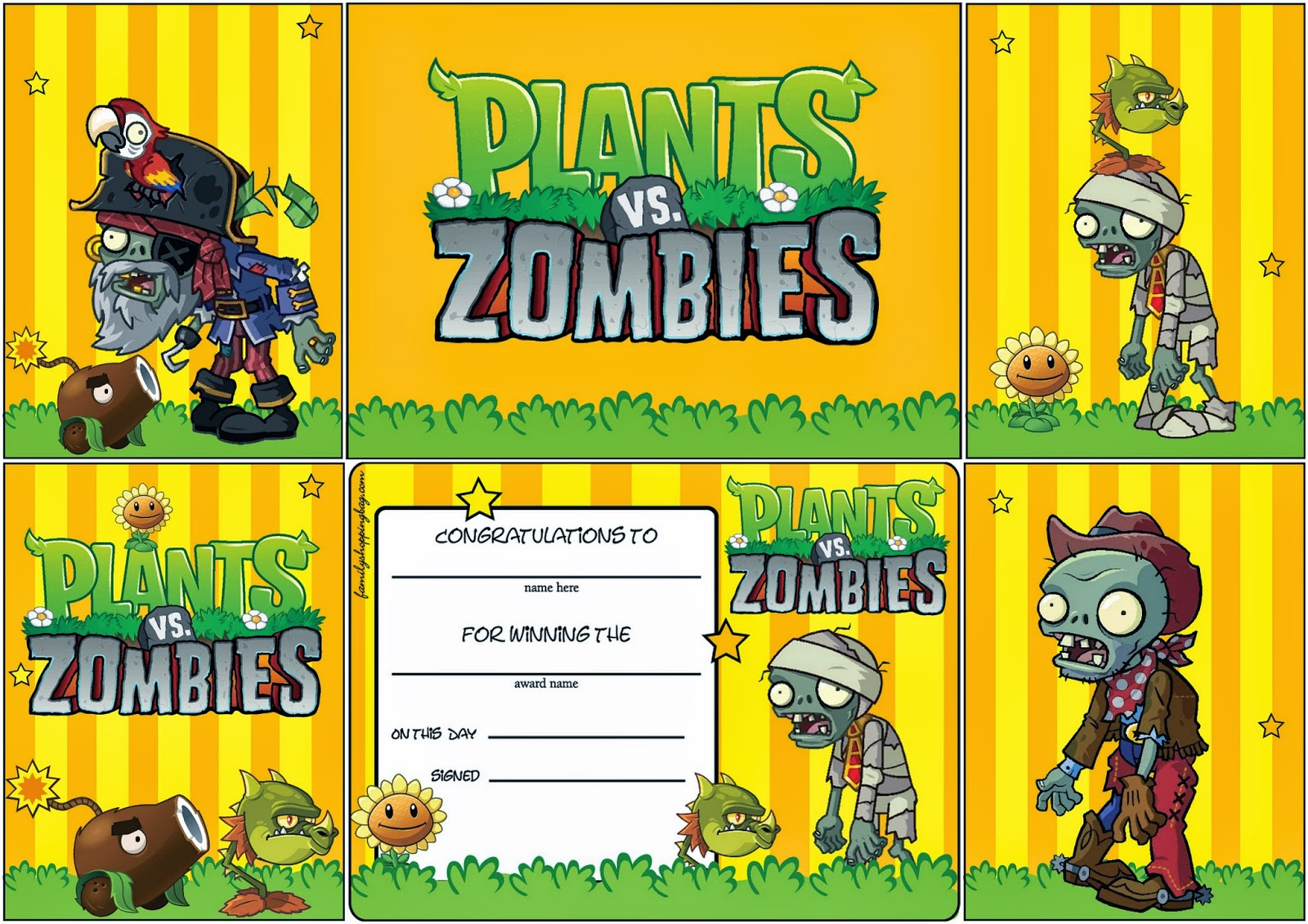 Plants Vs Zombies Free Printable Cards Or Invitations Oh
