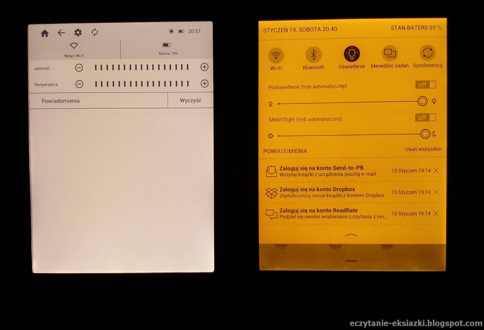 Ustawienia barwy podświetlenia w InkBOOK LUMOS i PocketBook Touch HD 3  – najcieplejsza barwa i maksymalna intensywność