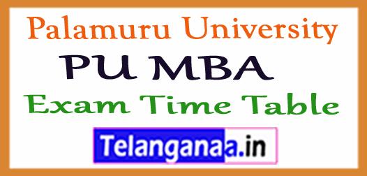 PU Palamuru University MBA Exam Time Table