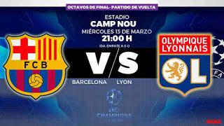 ملخص  مباراة برشلونة و ليون مباشر اليوم دوري ابطال اوروبا