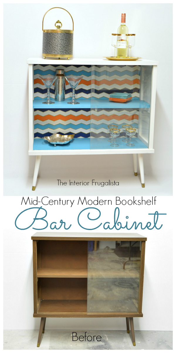 Mid Century Modern Bookshelf Bar Cabinet Before and After