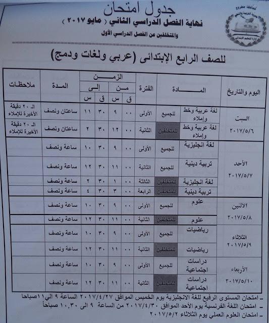 جداول إمتحانات محافظة مرسى مطروح 2017 لجميع المراحل (الابتدائيه والاعدادية والثانويه)