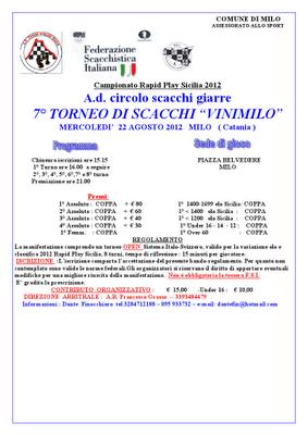 """7° TORNEO DI SCACCHI """"VINIMILO"""""""