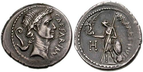 Julio César Denario - Anverso con busto de César y reverso con venus