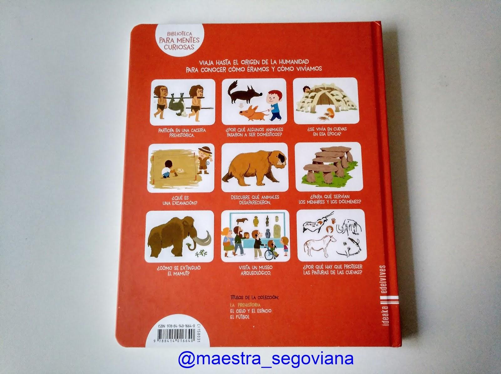 """Foto 8: contraportada del libro """"La prehistoria"""" de Edelvives. Fuente:  elaboración propia."""