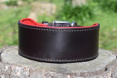 Collare in cuoio testa di moro con imbottitura in pelle rossa e fibbia in acciaio inox per cani taglia large