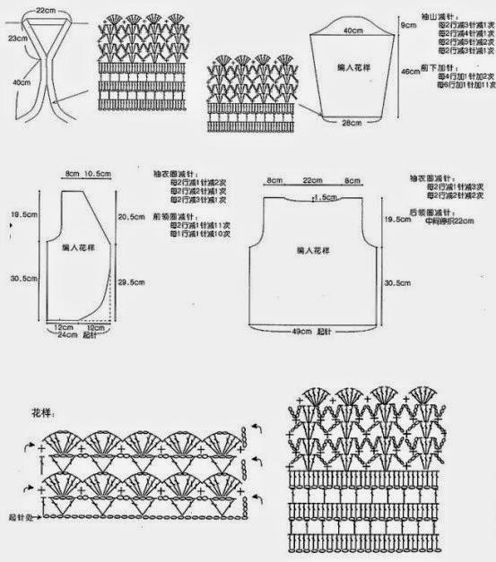 Patrones y moldes de Bolero tejido al crochet | Crochet y Dos agujas ...