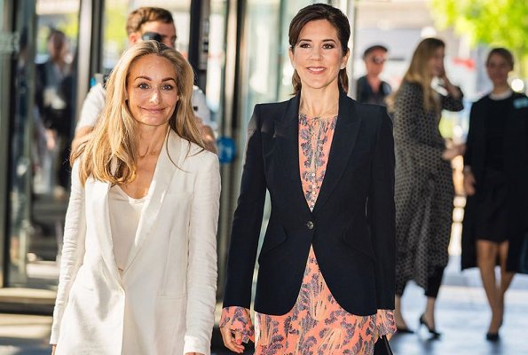 Crown Princess Mary wore H&M silk dress, Gianvito Rossi mesh pumps, Alexander McQueen Black leaf crepe jacket