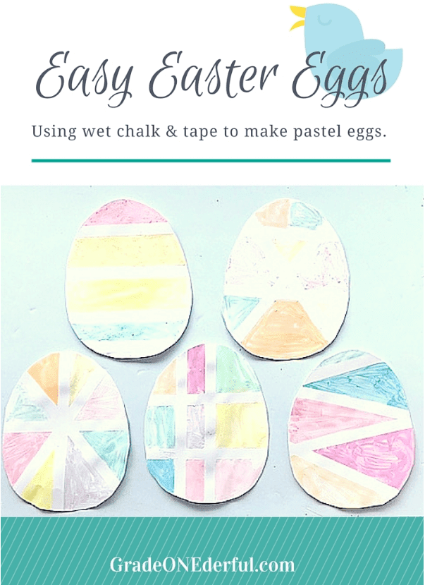 We made chalk paint Easter Eggs in Grade 1. Super easy and super fun!