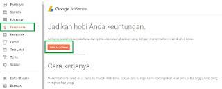 Cara daftar akun google adsense melalui menu penghasilan blogger
