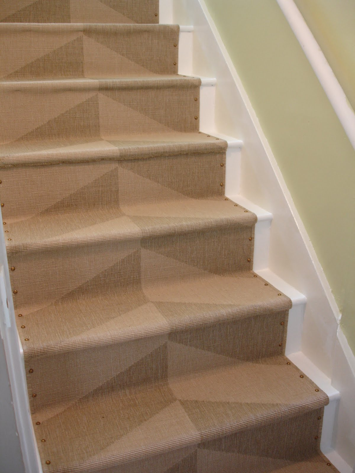 Loft Cottage Diy Nailhead Stair Runner   Carpet Up Middle Of Stairs