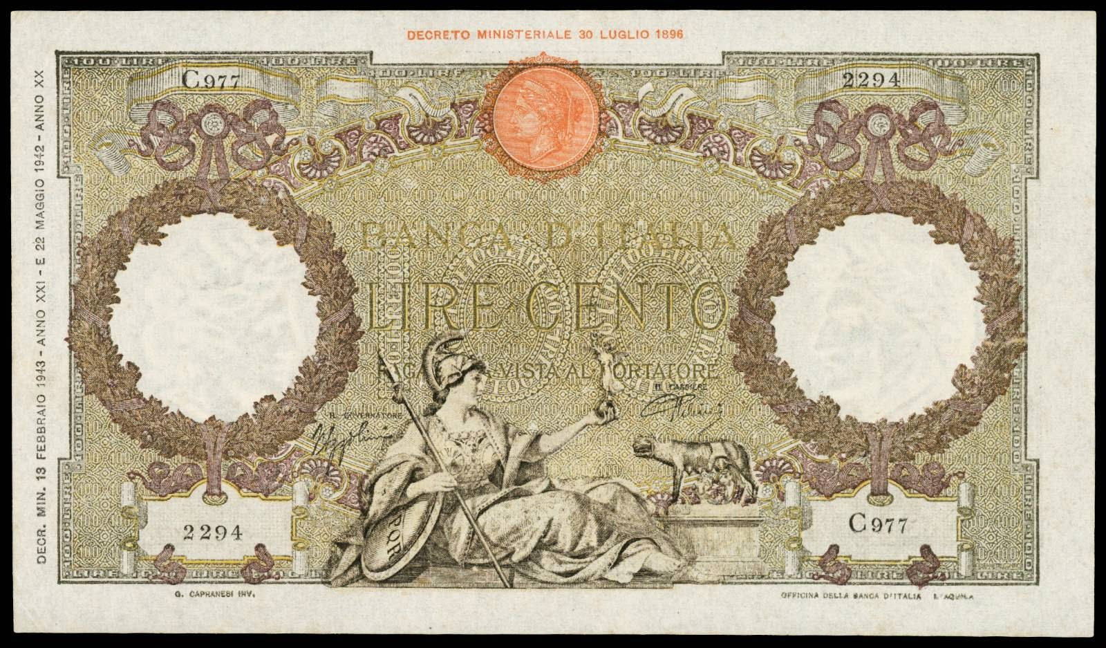 Italy 100 Lire banknote 1943