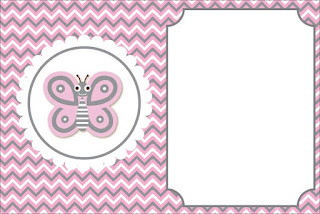 Pink Butterfly  Free Printable Invitations, Labels or Cards.