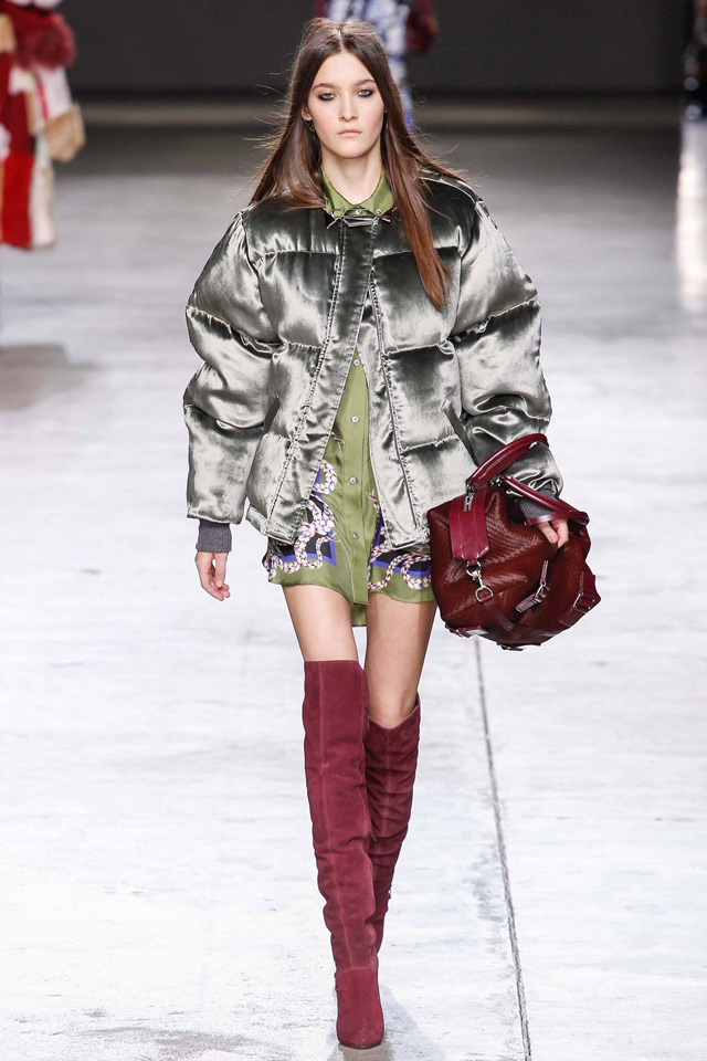 how and what to wear with over the knee boots: mini skirt, down jacket, blazer layering with check scarf and denim jacket, Unique Topshop winter 2015 look