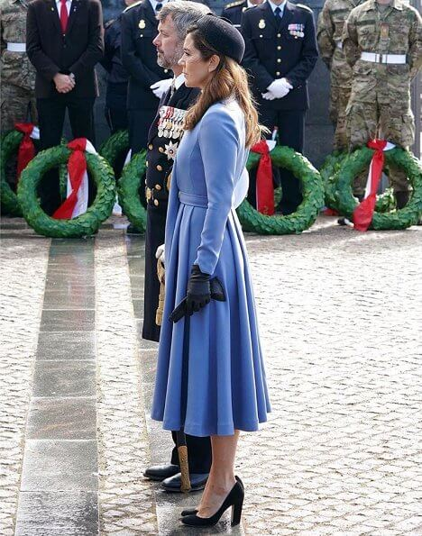 Denmark Flag Day 2020 at Citadel. Crown Princess Mary wore a light blue outfit. black pumps by gianvito rossi, diamond earrings