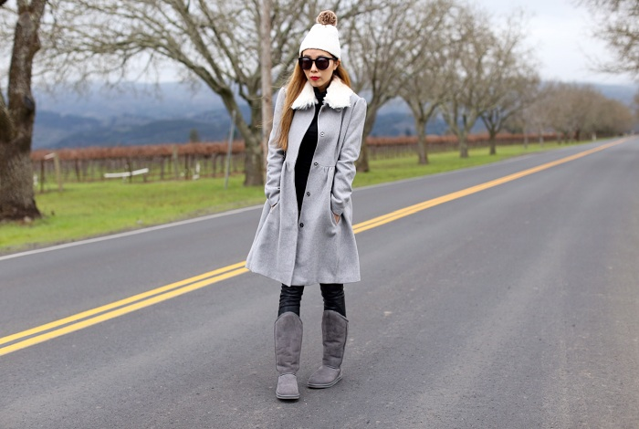 Australia Luxe Collective tall boots, boohoo princess coat, chanel boy bag, jcrew pom pom beanie, Karen walker super duper sunglasses, blank denim moto pants, winter essentials, fashion blog