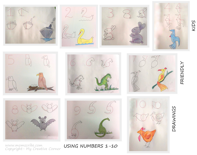Drawings Ideas For Kids Using Numbers Alphabets And Shapes Momscribe